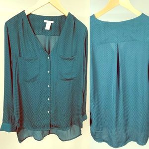 H&M Sz6 Green Polyester Lightweight Button Blouse
